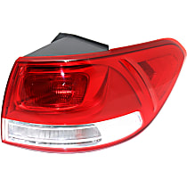 Passenger Side, Outer Tail Light, With bulb(s) - 2016-18 Kia Sorento, Clear & Red Lens