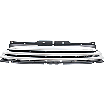 Grille Assembly - Textured Black Shell and Insert, with Chrome Molding