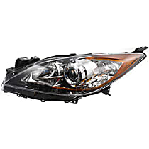 Hatchback/Sedan, Driver Side Halogen Headlight, Without bulb(s) - 5 Speed Trans