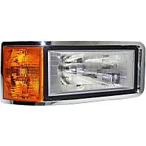 Passenger Side Headlight, With bulb(s) - Except CHN and Set Forward Axle Models, Clear And Amber Lens