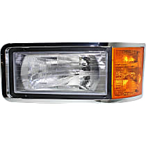 Driver Side Headlight, With bulb(s) - Except CHN and Set Forward Axle Models, Clear And Amber Lens