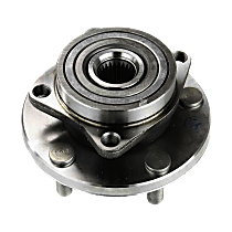 Front, Driver or Passenger Side Wheel Hub and Bearing Assembly For Coupe FWD with 4-bolt mounting