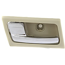 Interior Door Handle - Front or Rear, Driver Side, Beige Bezel with Chrome Lever