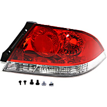 Passenger Side Tail Light, Without bulb(s) - Clear & Red Lens, ES/LS Models, Sedan
