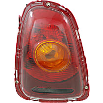 Driver Side Tail Light, With bulb(s) - Amber Lens, Yellow Turn Indicator, Hatchback/Convertible 09-10