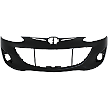 Front Bumper Cover, Primed, Hatchback - w/o Parking Aid Snsr Holes, w/ FL Holes