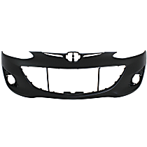 Front Bumper Cover, Primed, Hatchback - w/o Parking Aid Snsr Holes, w/ FL Holes, CAPA CERTIFIED