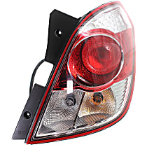 Passenger Side Tail Light, With bulb(s) - Clear & Red Lens, Red Line Model