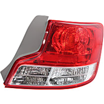 Passenger Side Tail Light, Without bulb(s) - Clear & Red Lens, w/ Socket Hole