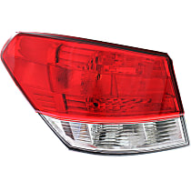 Driver Side, Outer Tail Light, Without bulb(s) - Clear & Red Lens