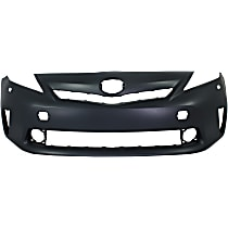 Front Bumper Cover, Primed - 2012-2014 Toyota Prius V - Model w/ LED Headlights , w/o Pre-Collision System (PCS)