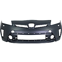 Front Bumper Cover, Primed - w/ Headlight Washer Holes, Fits (Plug-In Models w/ LED Headlights