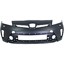 Front Bumper Cover, Primed - w/ Headlight Washer Holes, Fits (Plug-In Models w/ LED Headlights, CAPA CERTIFIED