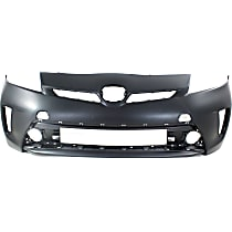 Front Bumper Cover, Primed - w/o Headlight Washer Holes, Fits Plug-In Models w/ Halogen Headlights