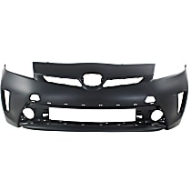 Front Bumper Cover, Primed - w/o Headlight Washer Holes, Fits Plug-In Models w/ Halogen Headlights, CAPA CERTIFIED