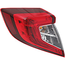 Sedan, Driver Side, Outer Tail Light, With bulb(s)