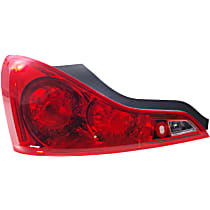 Driver Side Tail Light, With bulb(s) - Red Lens, Coupe