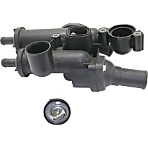 Thermostat Housing - Black, Plastic, Direct Fit, Assembly
