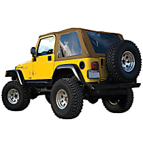 RT Off-Road Bowless Tan Vinyl Coated Polyester and Cotton Soft Top - Without Frame (Requires Factory Frame)