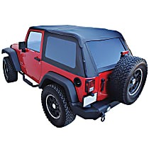 RT Off-Road Bowless Black Heavy Duty SailCloth Soft Top - Without Frame (Requires Factory Frame)