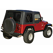 RT Off-Road Complete Black Vinyl Coated Polyester and Cotton Soft Top - With Frame (Frame Included)