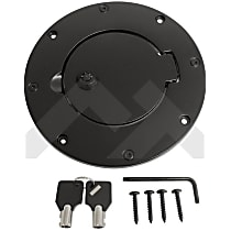 RT26082 Fuel Door - Black, Aluminum, Direct Fit, Sold individually