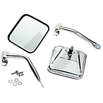 Driver and Passenger Side Mirror - Manual Glass,, Polished