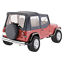 RT10015 RT Off-Road Replacement Black Vinyl Coated Polyester and Cotton Soft Top - Without Frame (Requires Factory Frame)