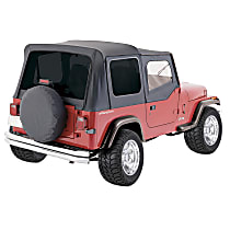 RT10015T RT Off-Road Replacement Black Vinyl Coated Polyester and Cotton Soft Top - Without Frame (Requires Factory Frame)