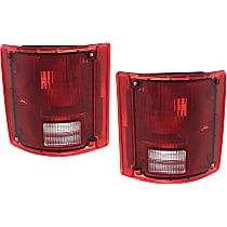 Driver and Passenger Side Tail Light, Without bulb(s) - Clear & Red Lens, w/o Chrome Trim