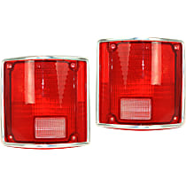 Replacement Tail Light Lens - SET-11-1282-09 - Driver and Passenger Side, Red, Plastic, Direct Fit, Set of 2