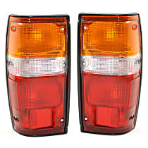 Driver and Passenger Side Tail Light, With bulb(s) - Amber, Clear & Red Lens, w/ Black Trim