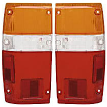 Replacement Tail Light Lens - SET-11-1347-02 - Driver and Passenger Side, Amber, clear, red, Plastic, Direct Fit, Set of 2
