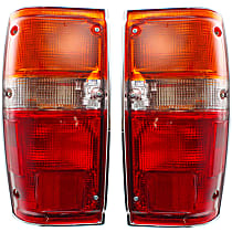 Driver and Passenger Side Tail Light, With bulb(s) - Amber, Clear & Red Lens, w/ Chrome Trim