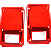Replacement Tail Light Lens - SET-11-1435-02 - Driver and Passenger Side, Red, Plastic, Direct Fit, Set of 2