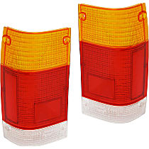 Replacement Tail Light Lens - SET-11-1505-02 - Driver and Passenger Side, Amber, clear, red, Plastic, Direct Fit, Set of 2