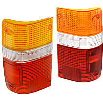 Replacement Tail Light Lens - SET-11-1654-02 - Driver and Passenger Side, Amber, clear, red, Plastic, Direct Fit, Set of 2