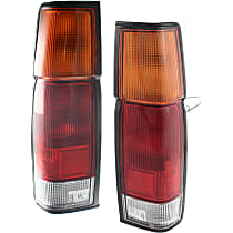 Driver and Passenger Side Tail Light, With bulb(s) - Amber, Clear & Red Lens, w/o Dual Rear Wheels