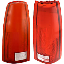 Replacement Tail Light Lens - SET-11-1913-01 - Driver and Passenger Side, Red and clear, Plastic, Direct Fit, Set of 2