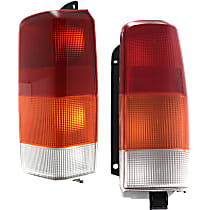 Driver and Passenger Side Tail Light, Without bulb(s) - Amber, Clear & Red Lens