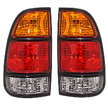 Replacement Halogen Tail Light, Driver And Passenger Side, Fits Regular/Access Cab w/ Standard Bed, With Bulb(s), Amber, Clear & Red Lens