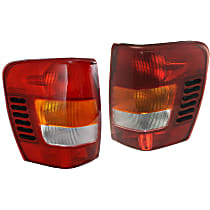 Driver and Passenger Side Tail Light, Without bulb(s) - Amber, Clear & Red Lens, To 11-01
