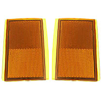 Reflector - Front, Driver and Passenger Side (Set of 2), Upper, Direct Fit