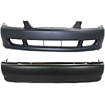 Replacement Bumper Cover - SET-19203P-2 - Front and Rear, Primed, Sedan, w/o Parking Aid Snsr Holes, w/ FL Holes