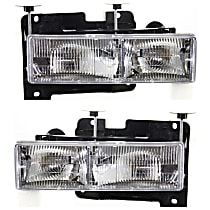 Driver and Passenger Side Halogen Headlight, With Bulb(s) - Composite Type