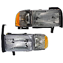Driver and Passenger Side Headlight, With bulb(s) - Single Beam Old Body Style, w/ Corner Light
