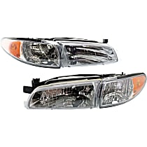 Driver and Passenger Side Headlight, With Headlight bulb; Without parking and signal light bulb(s) - Coupe/Sedan
