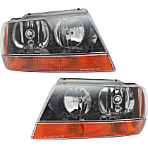 Driver and Passenger Side Headlight, With bulb(s) - 99-04 Grand Cherokee (Laredo/Sport/Columbia/Freedom/Special Edition Model), Prod Date up to 01/02/2002, w/ amber Turn Signal lens, w/ Wiring harness