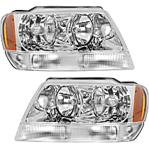 Driver and Passenger Side Halogen Headlight, With Bulb(s) - 99-04 Grand Cherokee (Limited/Overland Model)