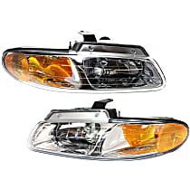Driver and Passenger Side Halogen Headlight, With Bulb(s) - Single Beam, w/o DRL